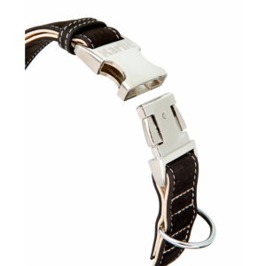 Buffalo Halsband Büffelleder schwarz-hellbeige